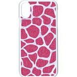 SKIN1 WHITE MARBLE & PINK DENIM (R) Apple iPhone X Seamless Case (White) Front