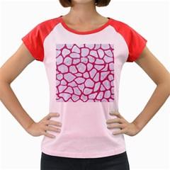 Skin1 White Marble & Pink Denim Women s Cap Sleeve T Shirt