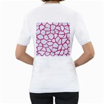 SKIN1 WHITE MARBLE & PINK DENIM Women s T-Shirt (White) (Two Sided) Back
