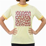 SKIN1 WHITE MARBLE & PINK DENIM Women s Fitted Ringer T-Shirts Front