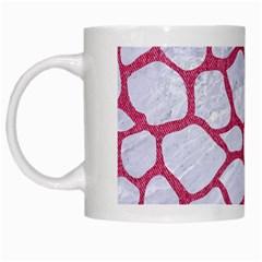Skin1 White Marble & Pink Denim White Mugs