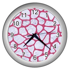 Skin1 White Marble & Pink Denim Wall Clocks (silver)