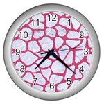 SKIN1 WHITE MARBLE & PINK DENIM Wall Clocks (Silver)  Front
