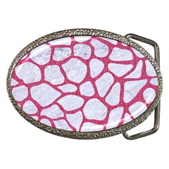 Skin1 White Marble & Pink Denim Belt Buckles
