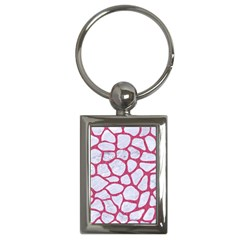 Skin1 White Marble & Pink Denim Key Chains (rectangle)