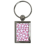 SKIN1 WHITE MARBLE & PINK DENIM Key Chains (Rectangle)  Front