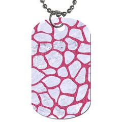 Skin1 White Marble & Pink Denim Dog Tag (two Sides)