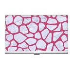SKIN1 WHITE MARBLE & PINK DENIM Business Card Holders Front