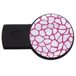 SKIN1 WHITE MARBLE & PINK DENIM USB Flash Drive Round (2 GB) Front