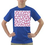 SKIN1 WHITE MARBLE & PINK DENIM Dark T-Shirt Front