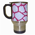 SKIN1 WHITE MARBLE & PINK DENIM Travel Mugs (White) Left