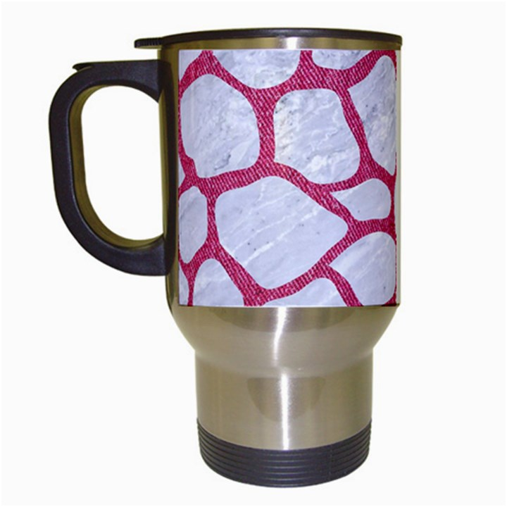 SKIN1 WHITE MARBLE & PINK DENIM Travel Mugs (White)
