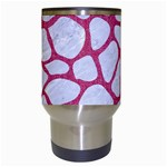 SKIN1 WHITE MARBLE & PINK DENIM Travel Mugs (White) Center