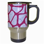 SKIN1 WHITE MARBLE & PINK DENIM Travel Mugs (White) Right