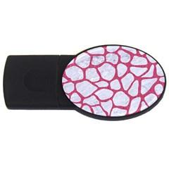 Skin1 White Marble & Pink Denim Usb Flash Drive Oval (4 Gb)