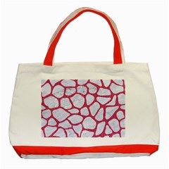 Skin1 White Marble & Pink Denim Classic Tote Bag (red)