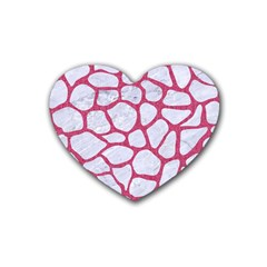 Skin1 White Marble & Pink Denim Heart Coaster (4 Pack)