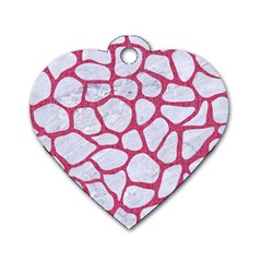 Skin1 White Marble & Pink Denim Dog Tag Heart (one Side)