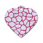 SKIN1 WHITE MARBLE & PINK DENIM Dog Tag Heart (One Side) Front