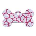 SKIN1 WHITE MARBLE & PINK DENIM Dog Tag Bone (One Side) Front