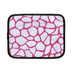 Skin1 White Marble & Pink Denim Netbook Case (small)
