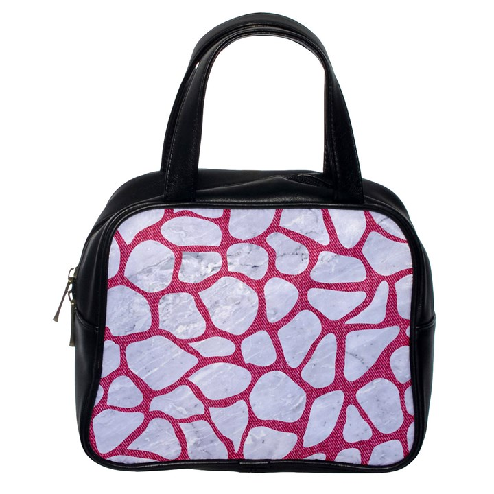 SKIN1 WHITE MARBLE & PINK DENIM Classic Handbags (One Side)