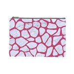 SKIN1 WHITE MARBLE & PINK DENIM Cosmetic Bag (Large)  Front