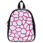 SKIN1 WHITE MARBLE & PINK DENIM School Bag (Small) Front