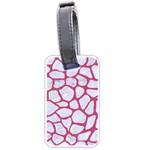 SKIN1 WHITE MARBLE & PINK DENIM Luggage Tags (One Side)  Front