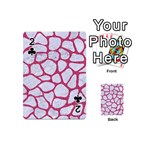 SKIN1 WHITE MARBLE & PINK DENIM Playing Cards 54 (Mini)  Front - Club2