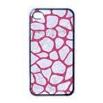 SKIN1 WHITE MARBLE & PINK DENIM Apple iPhone 4 Case (Black) Front