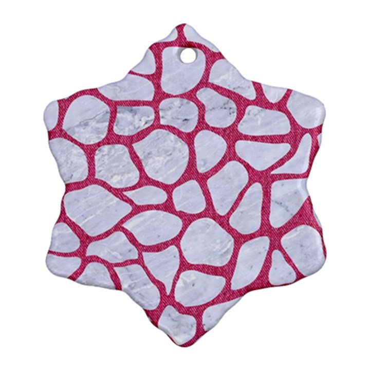 SKIN1 WHITE MARBLE & PINK DENIM Snowflake Ornament (Two Sides)