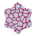 SKIN1 WHITE MARBLE & PINK DENIM Snowflake Ornament (Two Sides) Back
