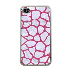 Skin1 White Marble & Pink Denim Apple Iphone 4 Case (clear)