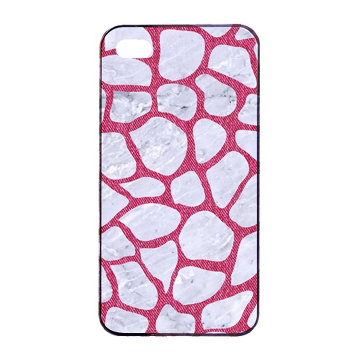 SKIN1 WHITE MARBLE & PINK DENIM Apple iPhone 4/4s Seamless Case (Black)