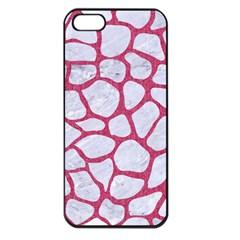Skin1 White Marble & Pink Denim Apple Iphone 5 Seamless Case (black)