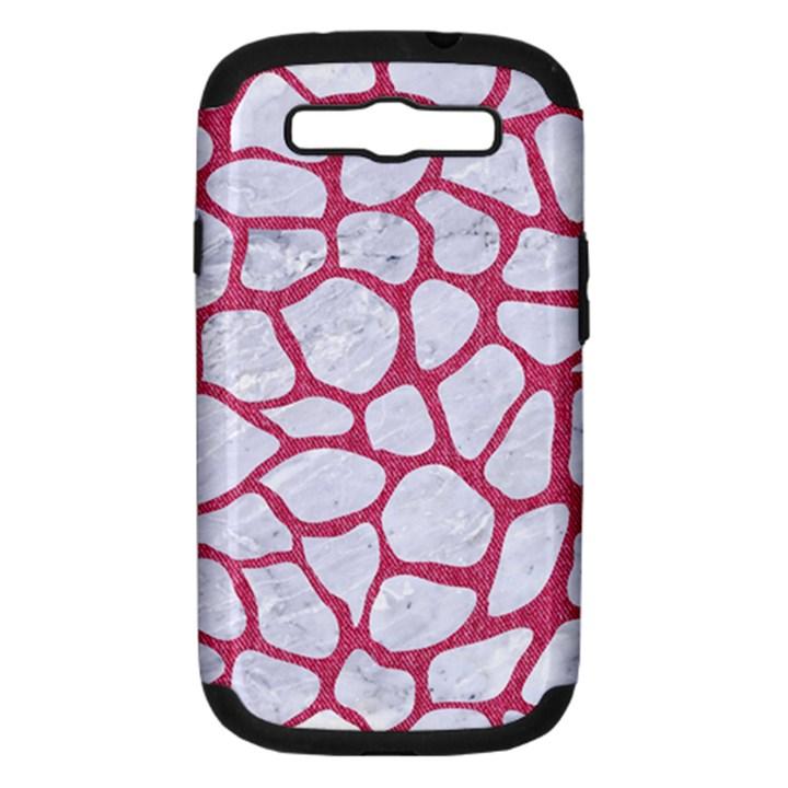 SKIN1 WHITE MARBLE & PINK DENIM Samsung Galaxy S III Hardshell Case (PC+Silicone)