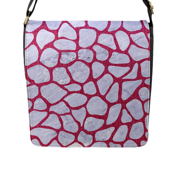 SKIN1 WHITE MARBLE & PINK DENIM Flap Messenger Bag (L)