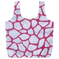 Skin1 White Marble & Pink Denim Full Print Recycle Bags (l)