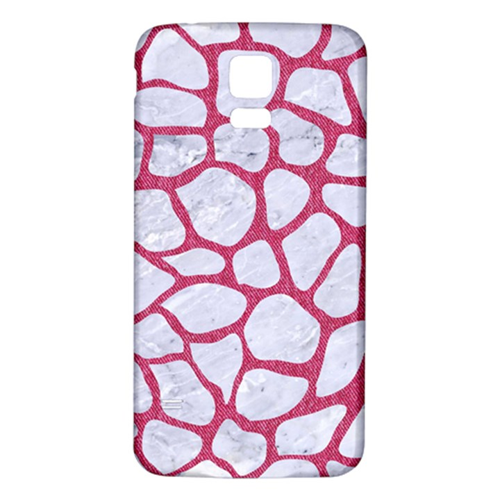 SKIN1 WHITE MARBLE & PINK DENIM Samsung Galaxy S5 Back Case (White)