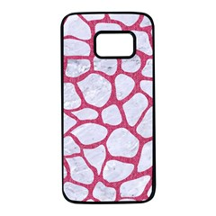 Skin1 White Marble & Pink Denim Samsung Galaxy S7 Black Seamless Case
