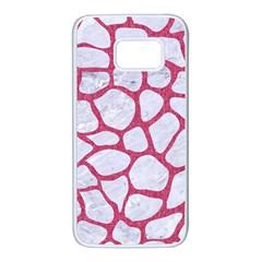 Skin1 White Marble & Pink Denim Samsung Galaxy S7 White Seamless Case
