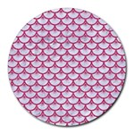 SCALES3 WHITE MARBLE & PINK DENIM (R) Round Mousepads Front
