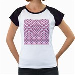 SCALES3 WHITE MARBLE & PINK DENIM (R) Women s Cap Sleeve T Front