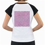 SCALES3 WHITE MARBLE & PINK DENIM (R) Women s Cap Sleeve T Back