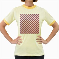 Scales3 White Marble & Pink Denim (r) Women s Fitted Ringer T Shirts