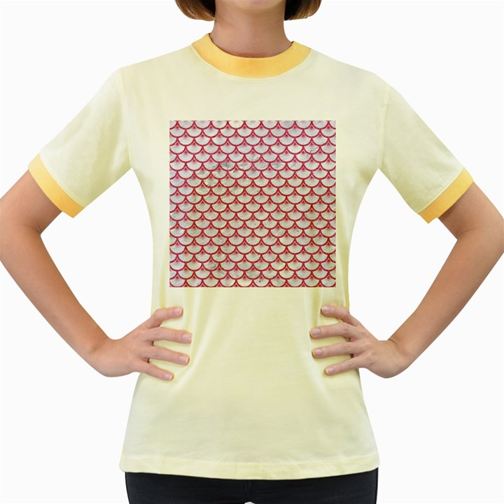 SCALES3 WHITE MARBLE & PINK DENIM (R) Women s Fitted Ringer T-Shirts