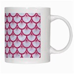 SCALES3 WHITE MARBLE & PINK DENIM (R) White Mugs Right