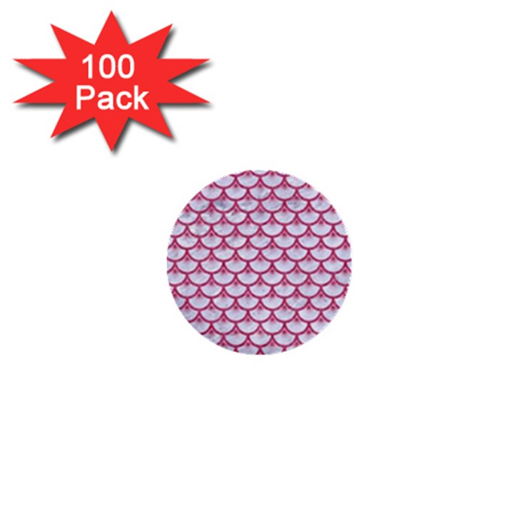SCALES3 WHITE MARBLE & PINK DENIM (R) 1  Mini Buttons (100 pack)