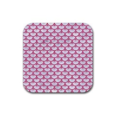 Scales3 White Marble & Pink Denim (r) Rubber Square Coaster (4 Pack)  by trendistuff